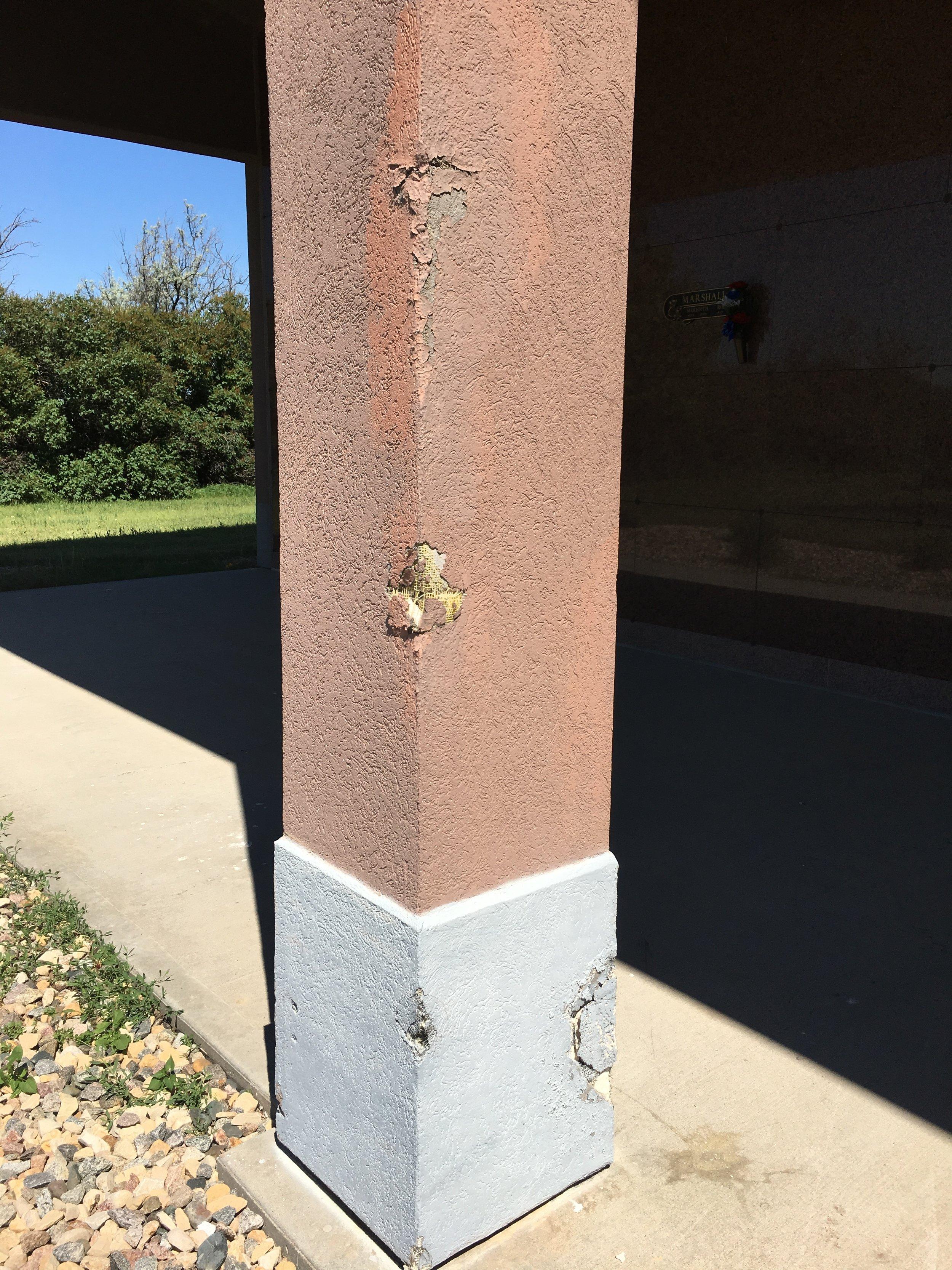 Restlawn exterior damage mausoleum post.JPG
