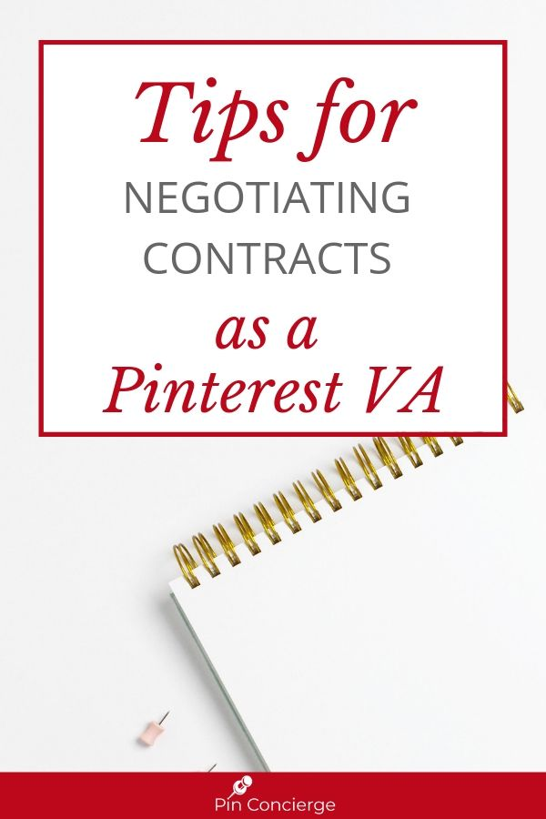 Get the basics of what a contract is for as a Pinterest Virtual Assistant and why you need one. Plus learn what to negotiate and protect your business. #pinterestvirtualassistant #pinconcierge #virtualassistant