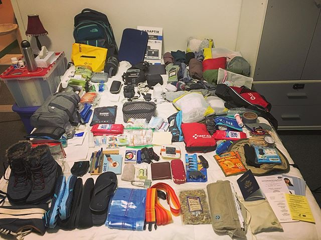 After 19 years of planning: My (mini-)RTW Backpack Gear Check! (Days of work more = *4*). 🌍 Feeling excited - and grateful. ☺️❤️🙏🏻