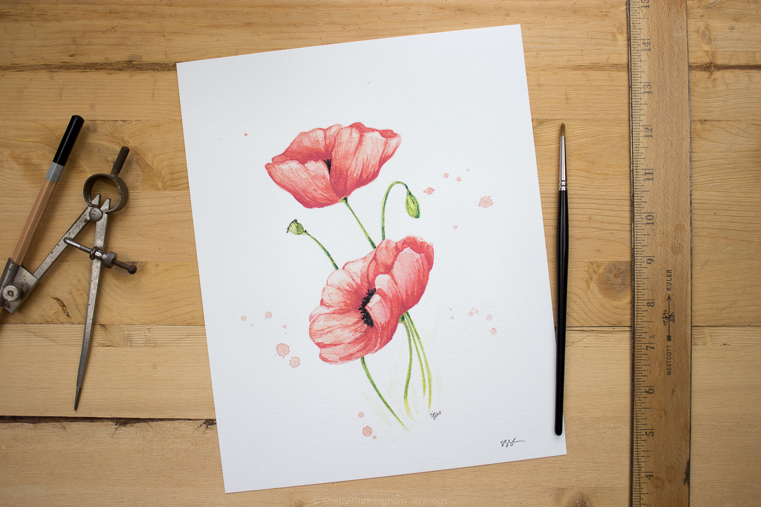 """Poppies"" Watercolor on watercolor paper."