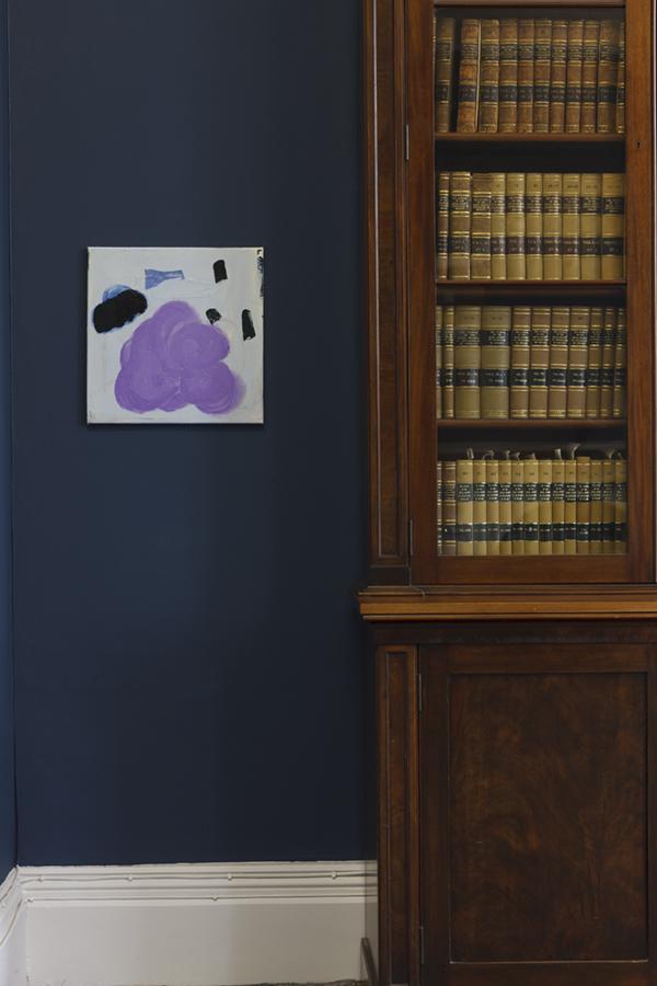 Sarah O'Brien    PLURP (LOVE THY NEIGHBOUR),  2018  Oil paint and fabric on canvas, 40 x 40 cm
