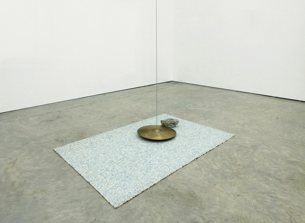 the impossibility of an island , 2016 cymbal, steel wire, concrete, carpet underlay, motor collection irish museum of modern art (IMMA)