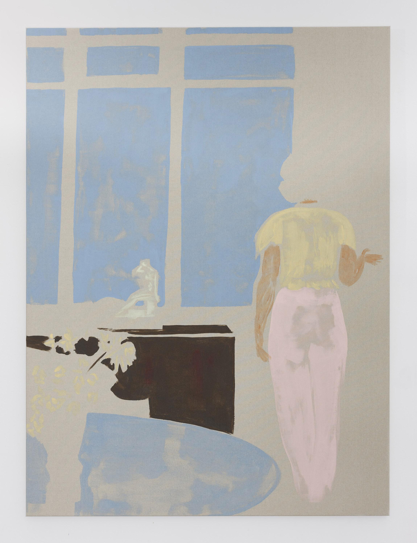 A sudden softness , 2019, acrylic on polyester, 137h x 102w cm