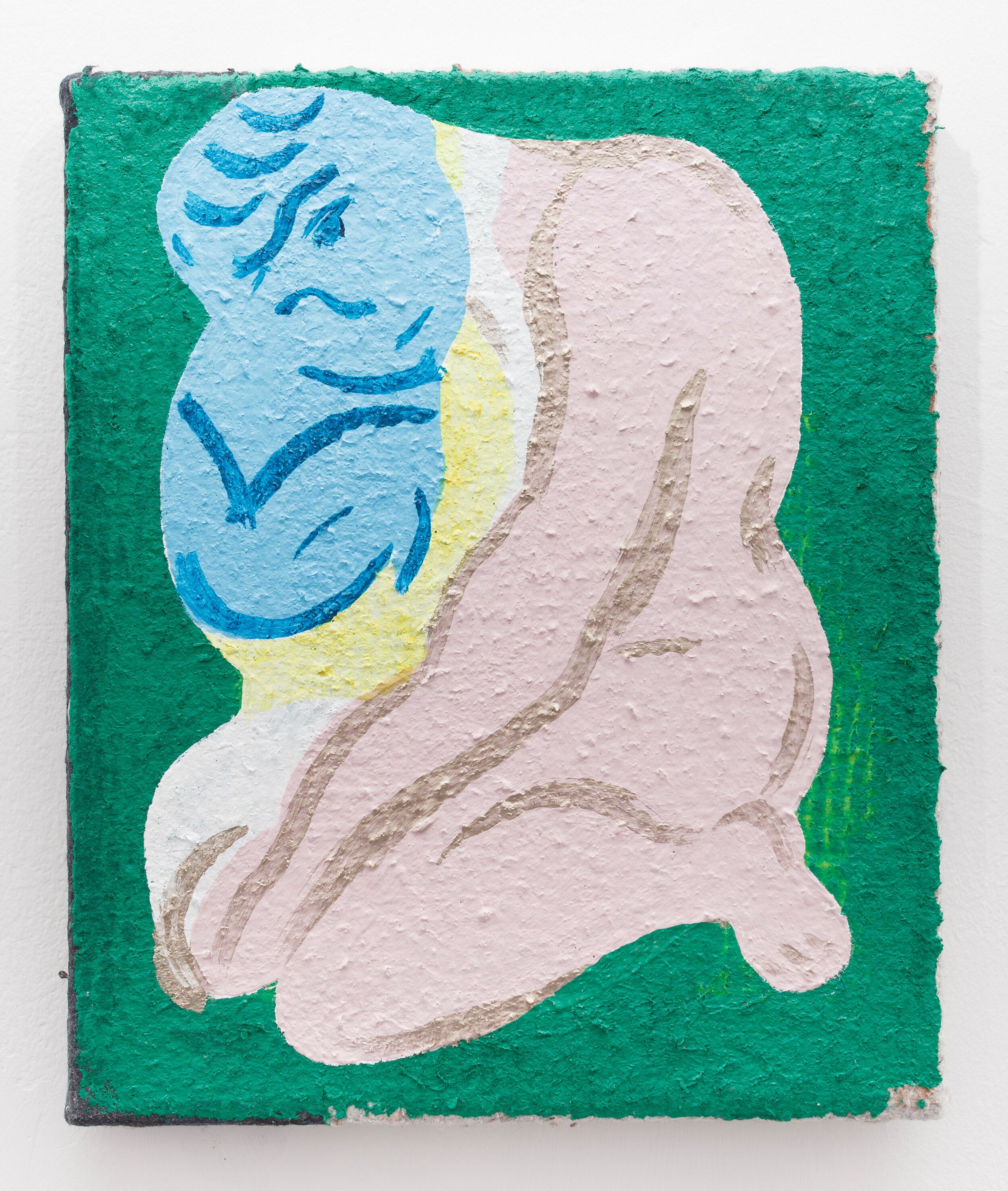 contemplation of a reality that is perhaps the future , 2018. Acrylic on mover's blanket, 30.5 x 25.5 cm.