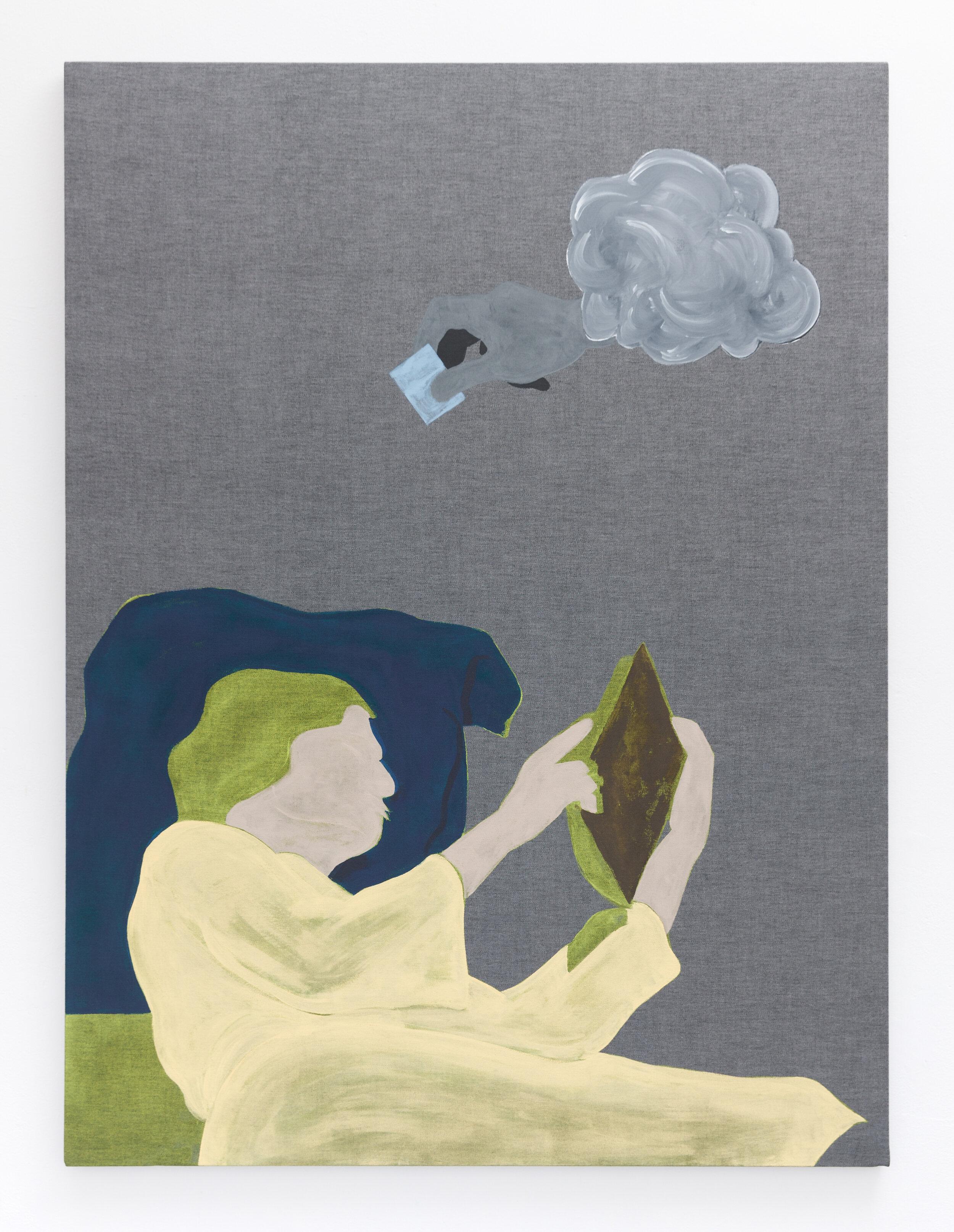 under an immense sky,  2018. Acrylic on cotton, 137 x 102 cm.