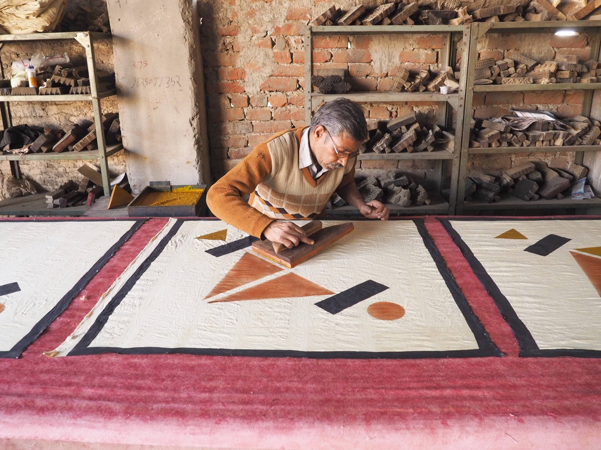 Master artisan Arvind block printing Mara Vera designs