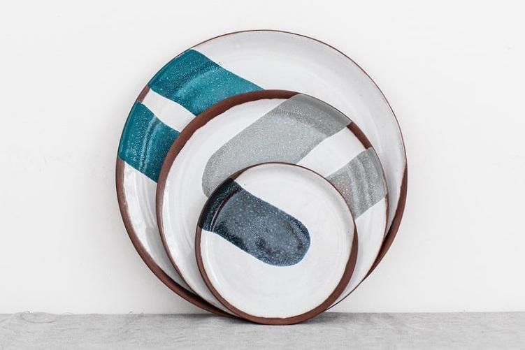 Silvia+K+set+plates terracotta tin glaze handmade
