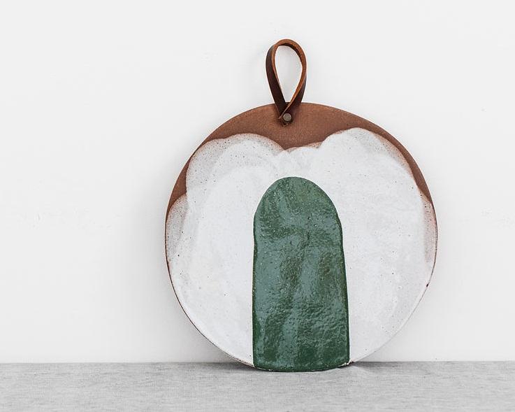 Silvia K round small  platter terracotta