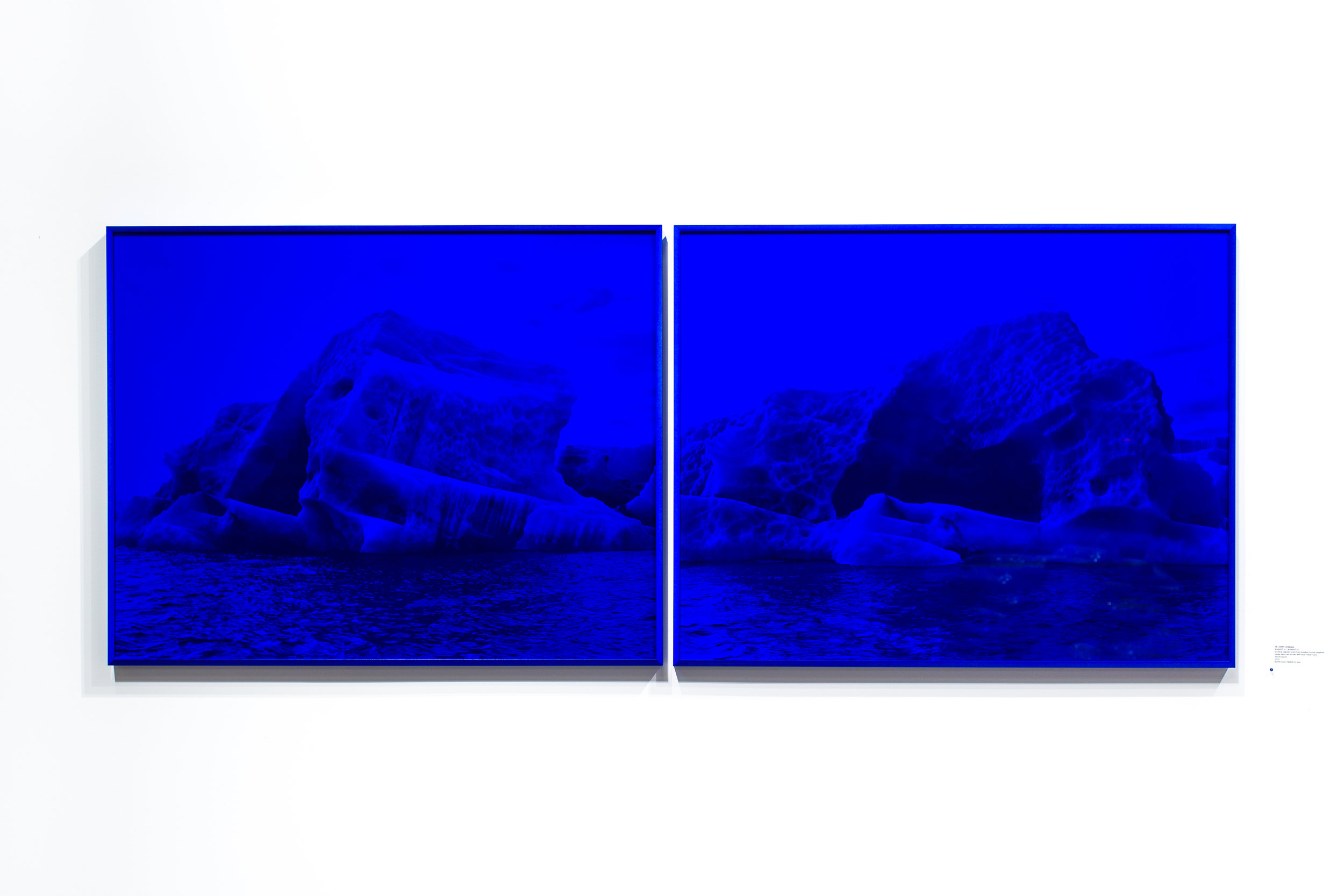 Justin Levesque, #0000FF 01 / #0000FF 02, archival pigment print from medium format negative under blue cast acrylic with blue metal frame, 38x30 (each), 2018