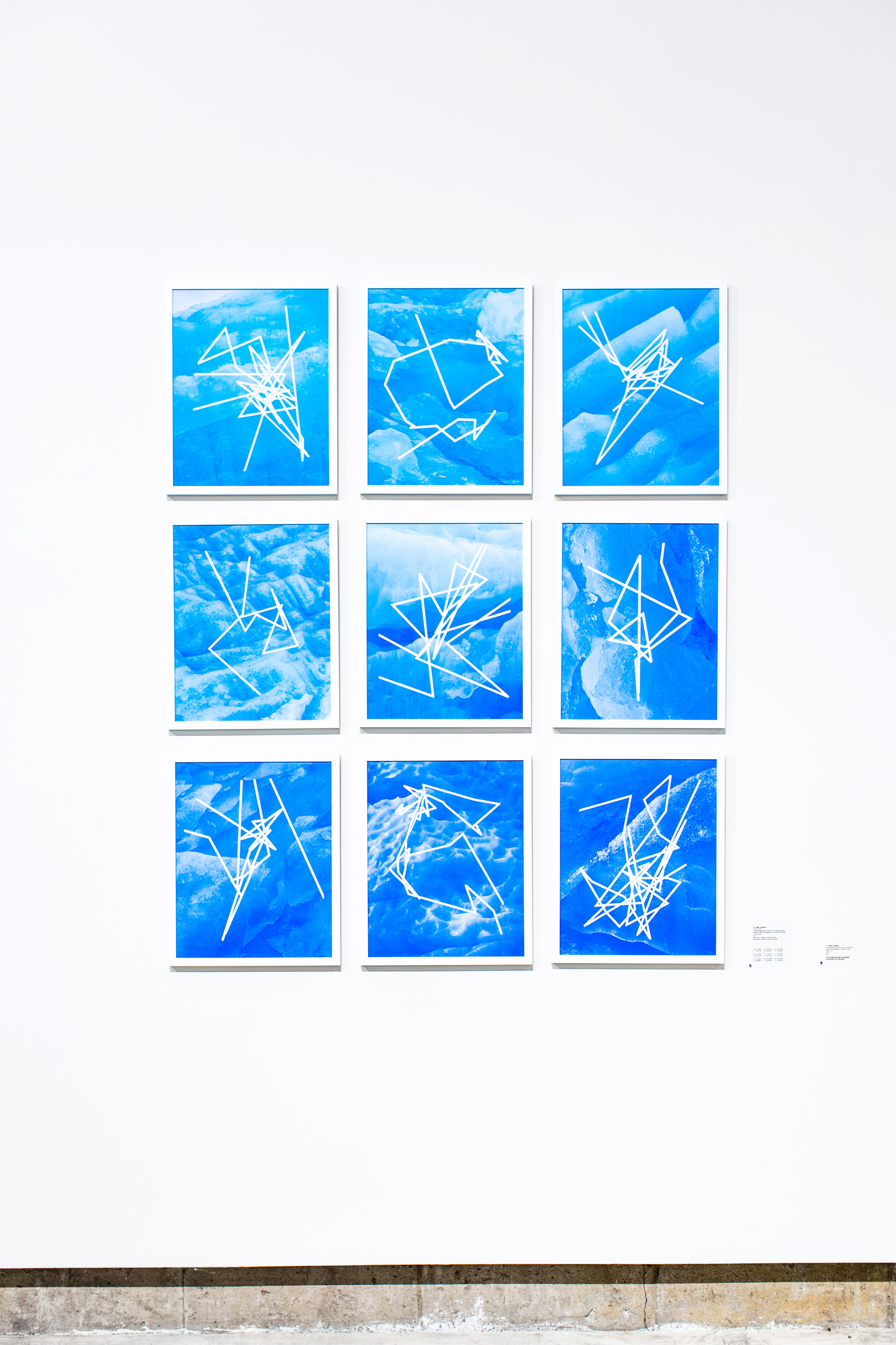 Justin Levesque, Anchor Point, archival pigment print made from medium format negative, GPS data logged from anchored tall ship, 16x20 (each), 2018