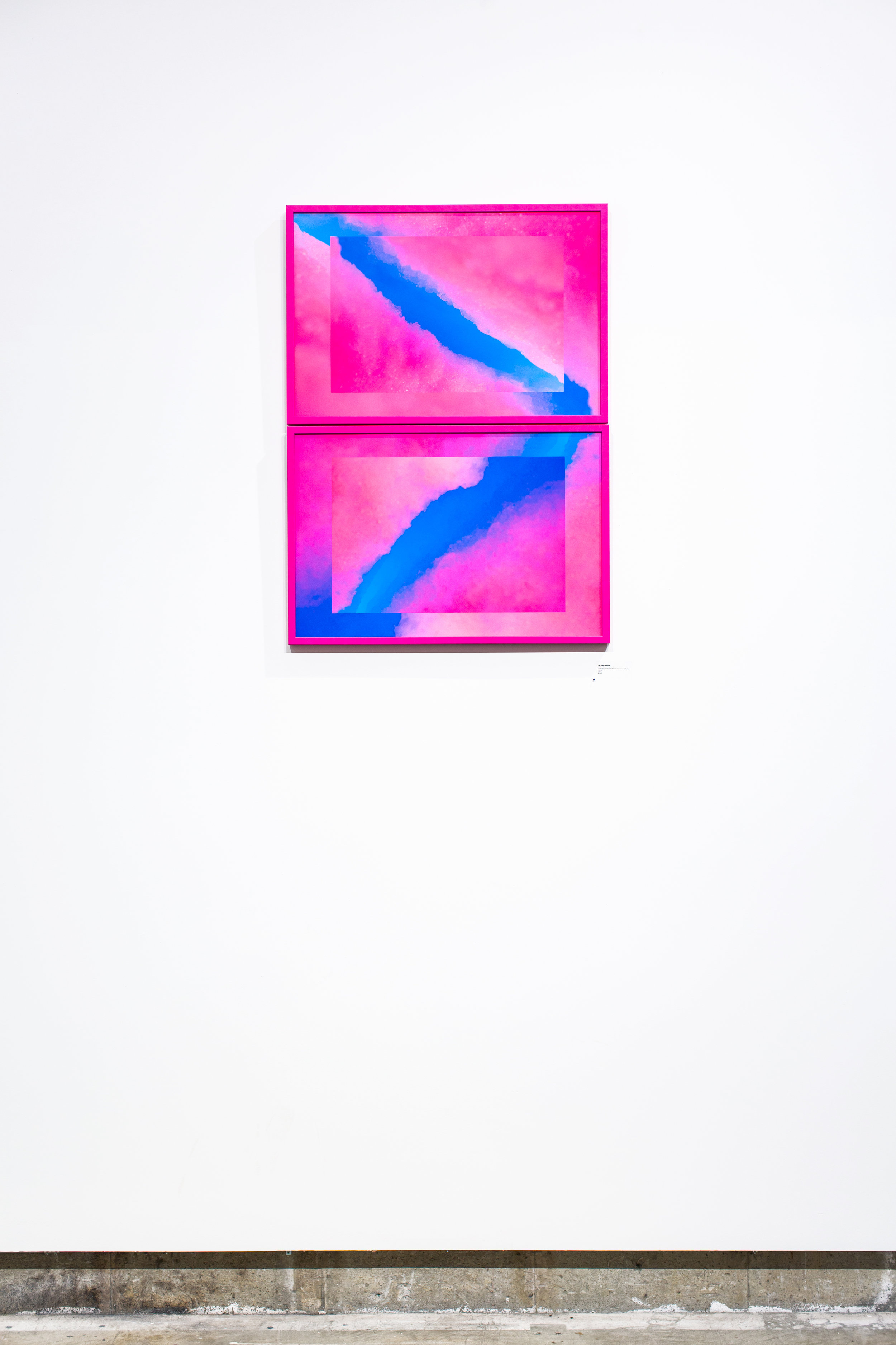 Justin Levesque, Diffuse (Color Bleed), archival pigment print with pink vinyl-wrapped frame, 30x48, 2017