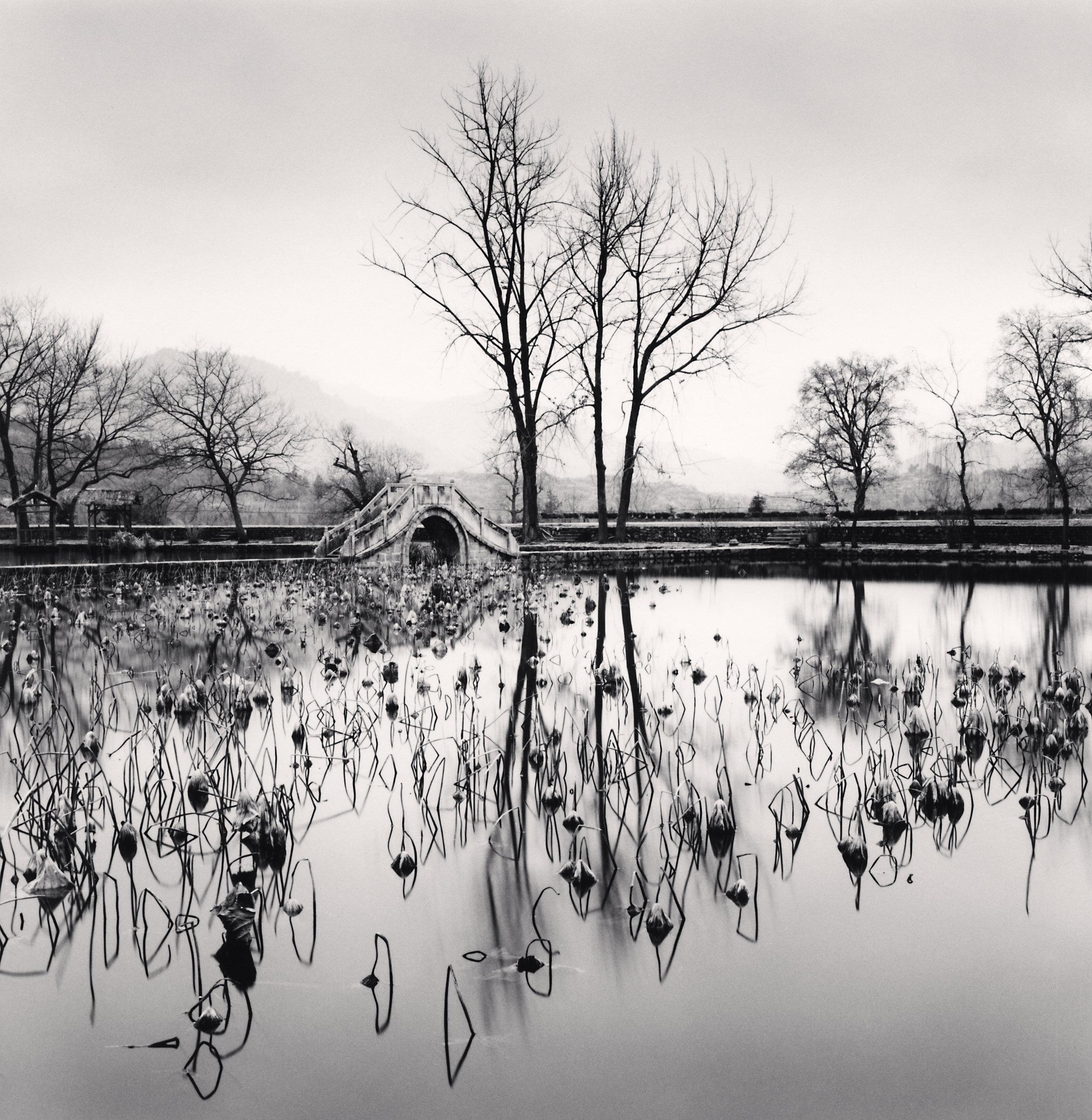 """©Michael Kenna """"Lake Bridge, Hongkun, Anhui, China, 2008."""