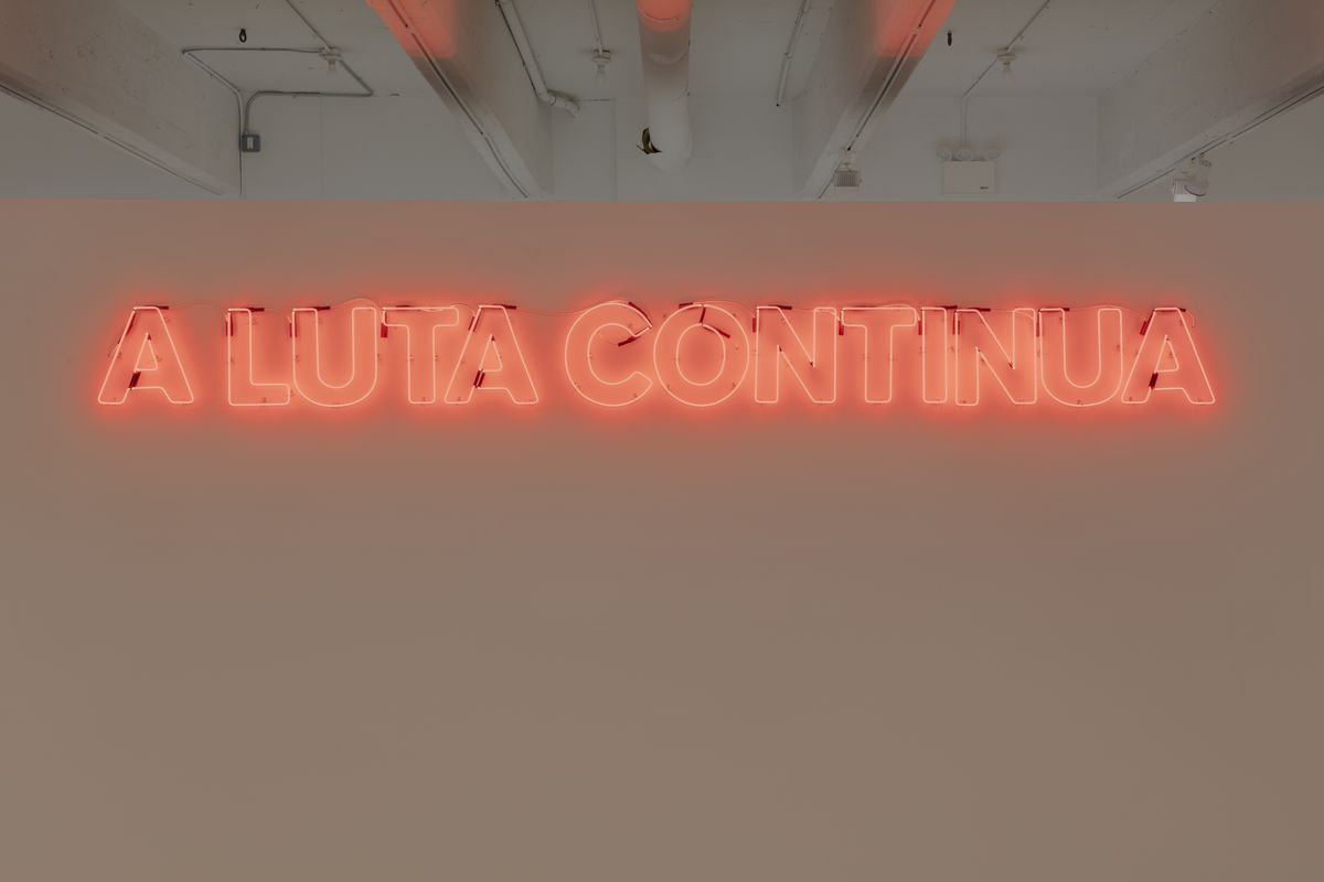 Thomas Mulcaire - The Struggle Continues - (A Luta Continua) - 2003 - Neon - 40 x 450 cm / 15 3/4 x 177 1/8 in