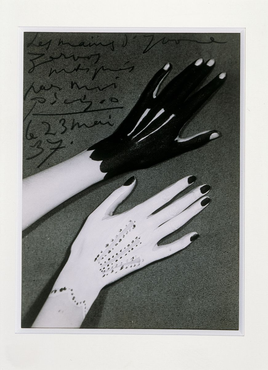 Man Ray - Hands of Yvonne Zervos painted by Pablo Picasso 1937 Silver print 22.3 x 16.5 cm / 8 3/4 x 6 1/2 in