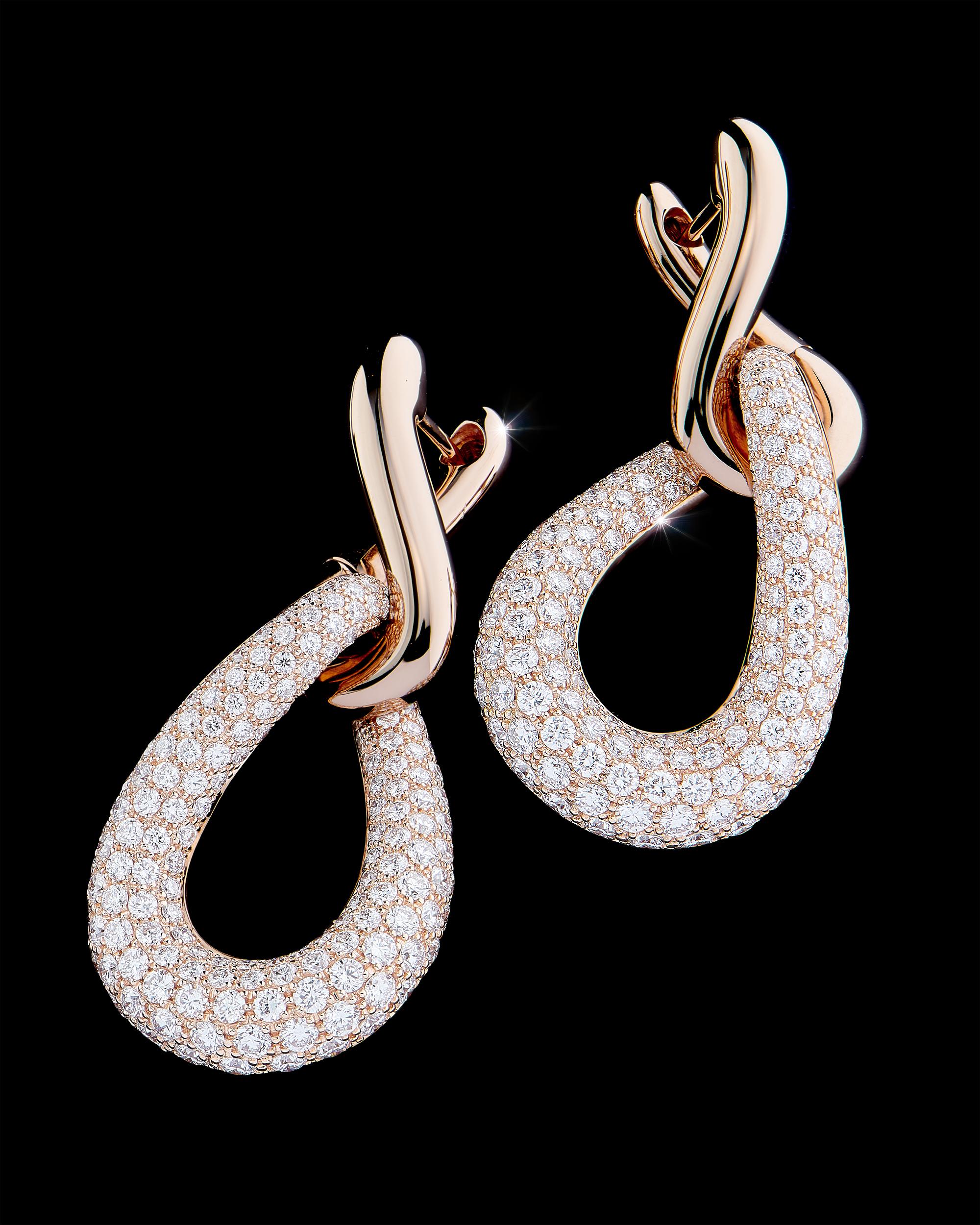 Photographie Haute Joaillerie Boucles d'oreille pendeloque en or rosé
