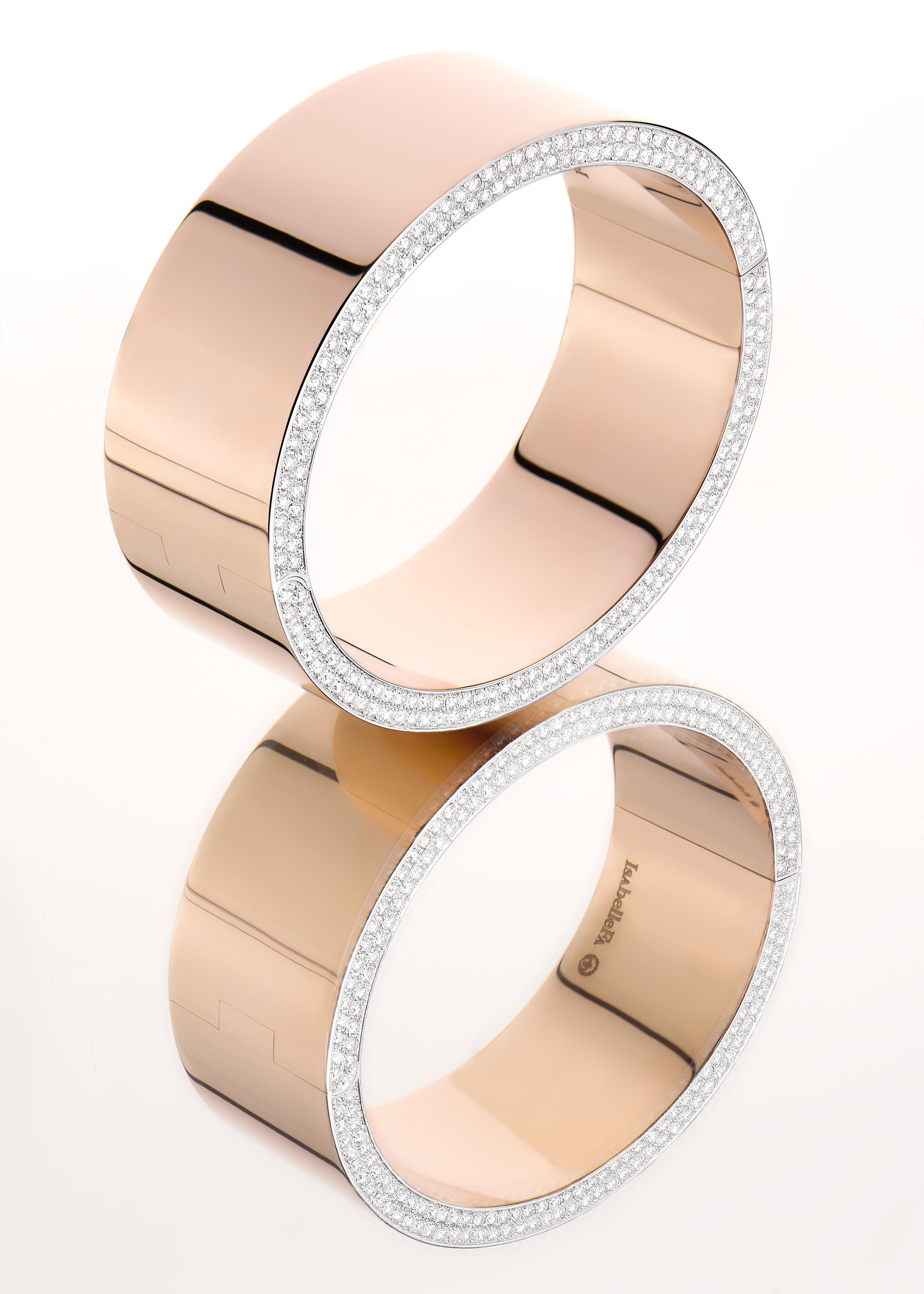 IsabelleFa - Bracelet manchette Jonc - Diamants Or Royal Rouge 18 Ct 750/1000e