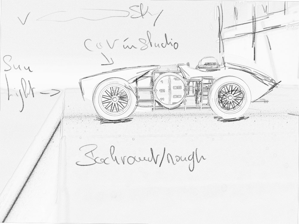 Sketch of the concept showing the car in a natural environment