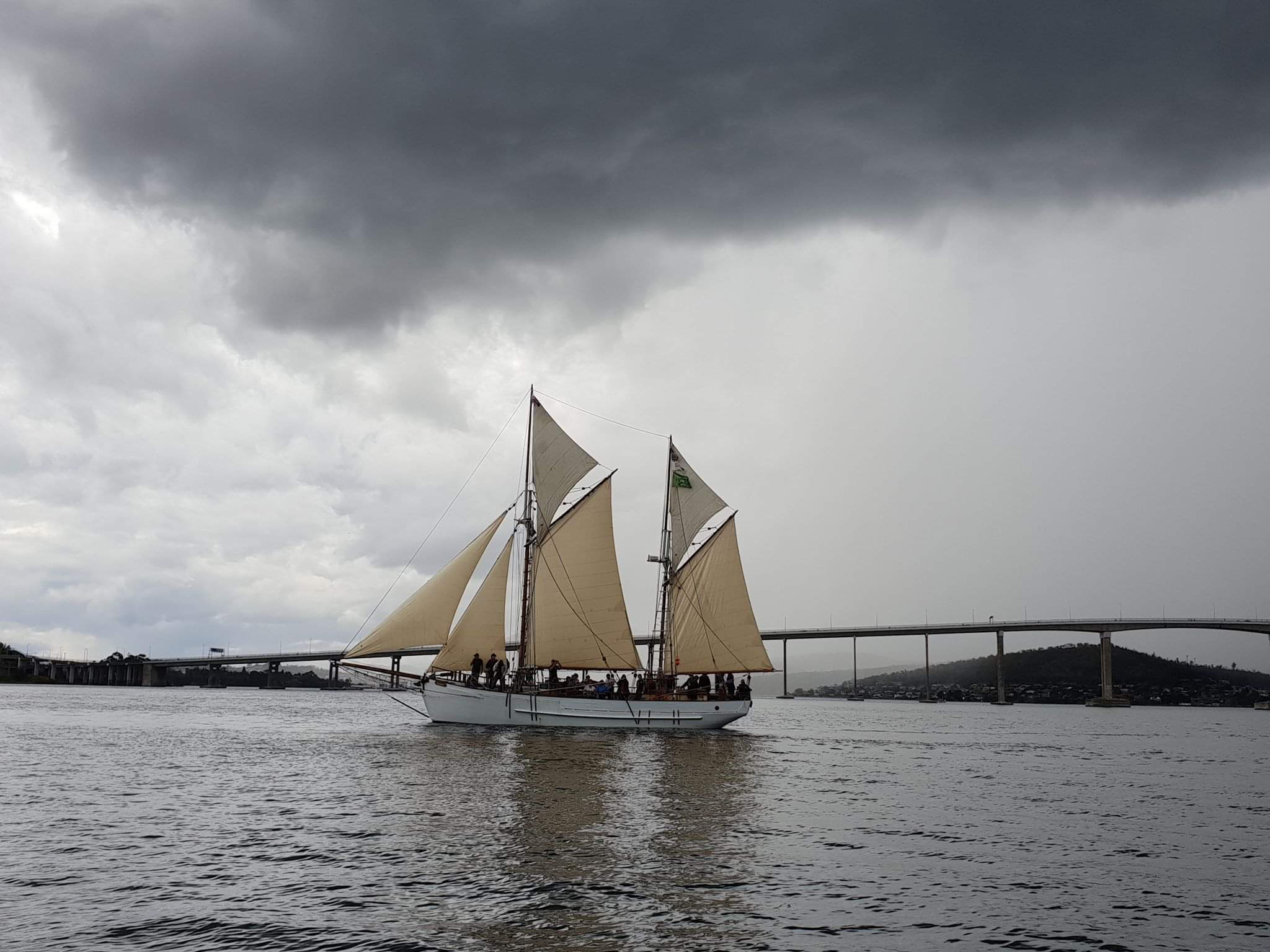 Sailing under the Tasman Bridge