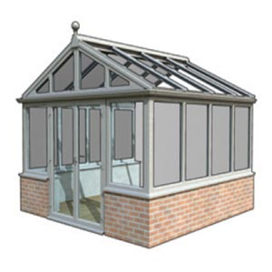 Gable - This style features a flat Gable frame to the front elevation, which gives you the opportunity to make a real statement with an attractive bespoke design. This design is perfect if you opt for blinds as all of the roof glass units are rectangular in shape; fitting blinds to edwardian and victorian Conservatories can be complicated and expensive.