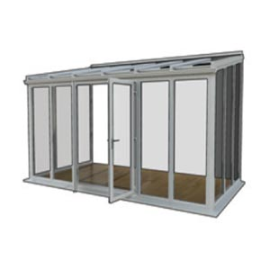 Lean to - The Lean to is still incredibly popular, it's simplicity makes this the lowest cost option. This style is available with a 2.5 degree pitch which makes it ideal if you have height restrictions. It is also widely used where there are adjoining walls.