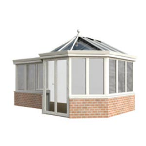 P-Shape - The above styles can be combined to form P shaped conservatories, this is especially popular with larger designs. Hips, valleys and box gutters can be used to design your perfect solution. The Gable, victorian and edwardian styles can also be hipped at the back should you need to reduce the height to avoid windows, low guttering, plumbing etc.