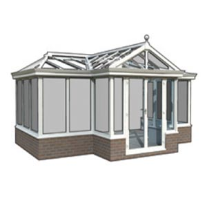 T-Shape - The above styles can be combined to form T shaped conservatories, this is especially popular with larger designs. Hips, valleys and box gutters can be used to design your perfect solution. The Gable, victorian and edwardian styles can also be hipped at the back should you need to reduce the height to avoid windows, low guttering, plumbing etc.