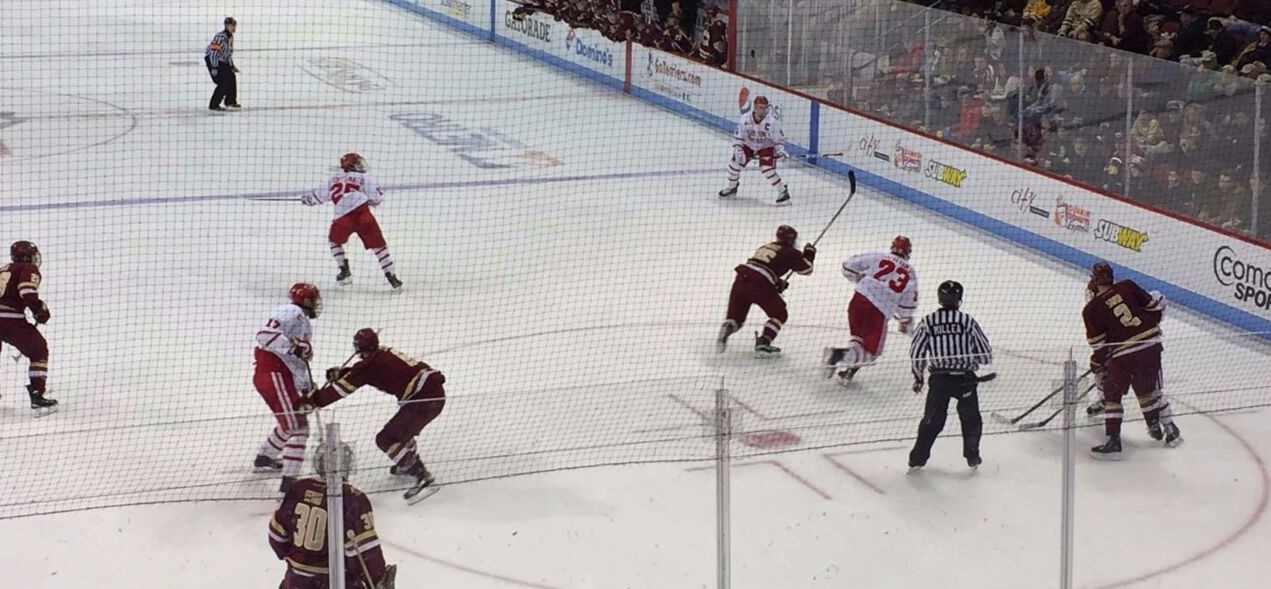 Boston University Terriers playing Ice-Hockey against Boston College Eagles