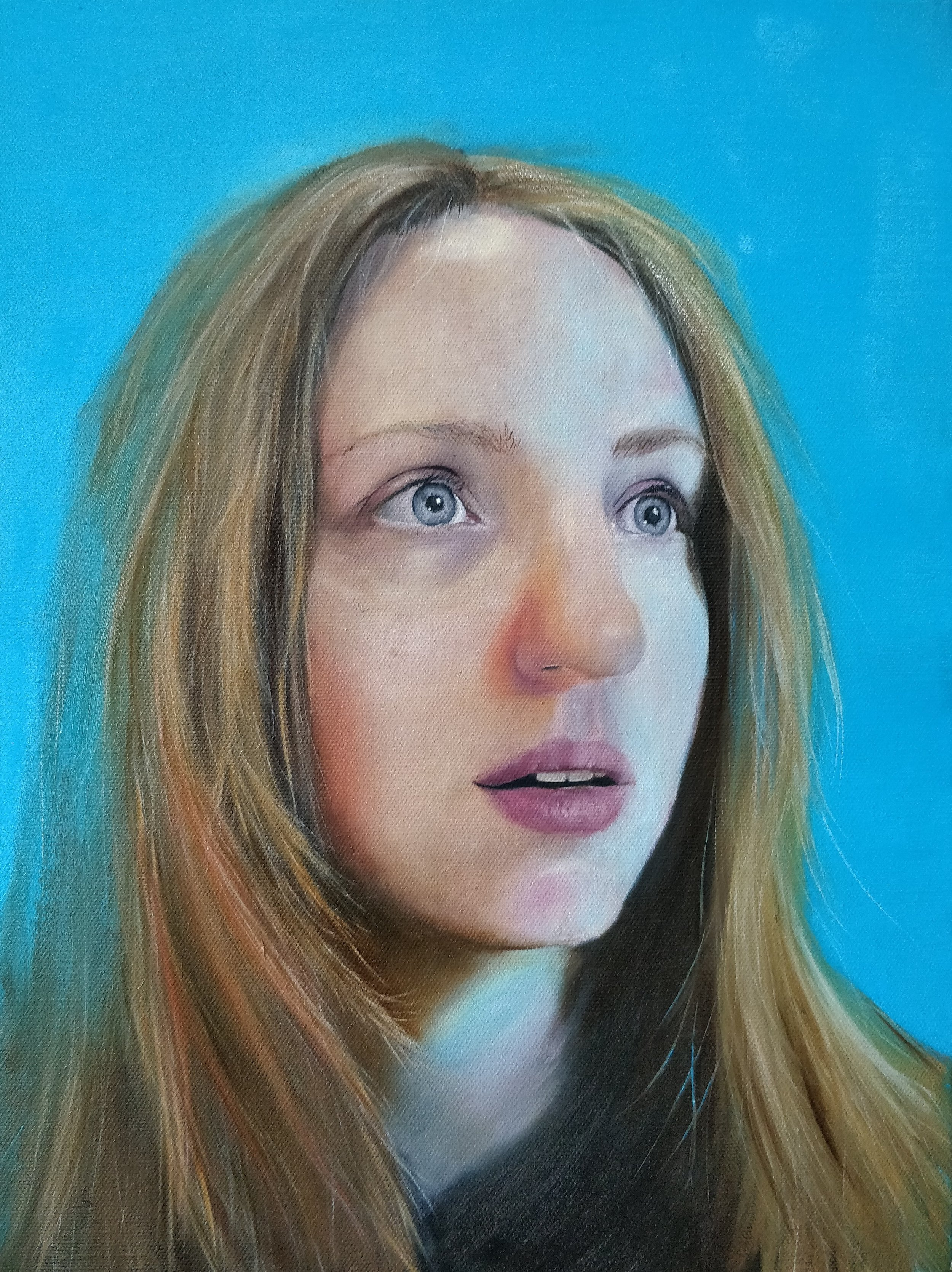 Portrait with a blue background
