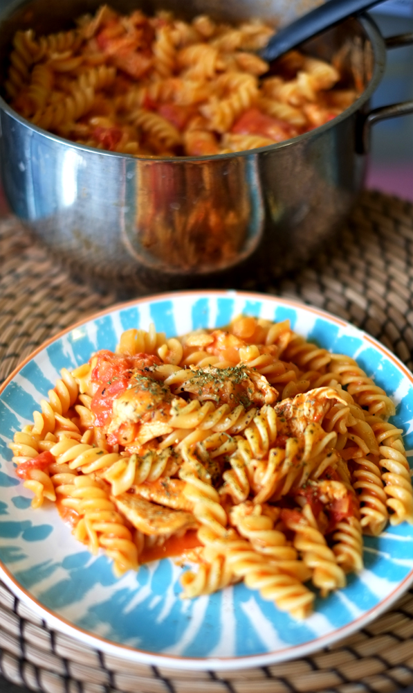 Coconut Cream and Tomato Chicken Pasta