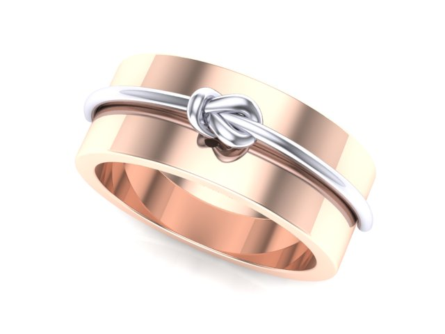 7mm Rose Gold with White Gold Knot
