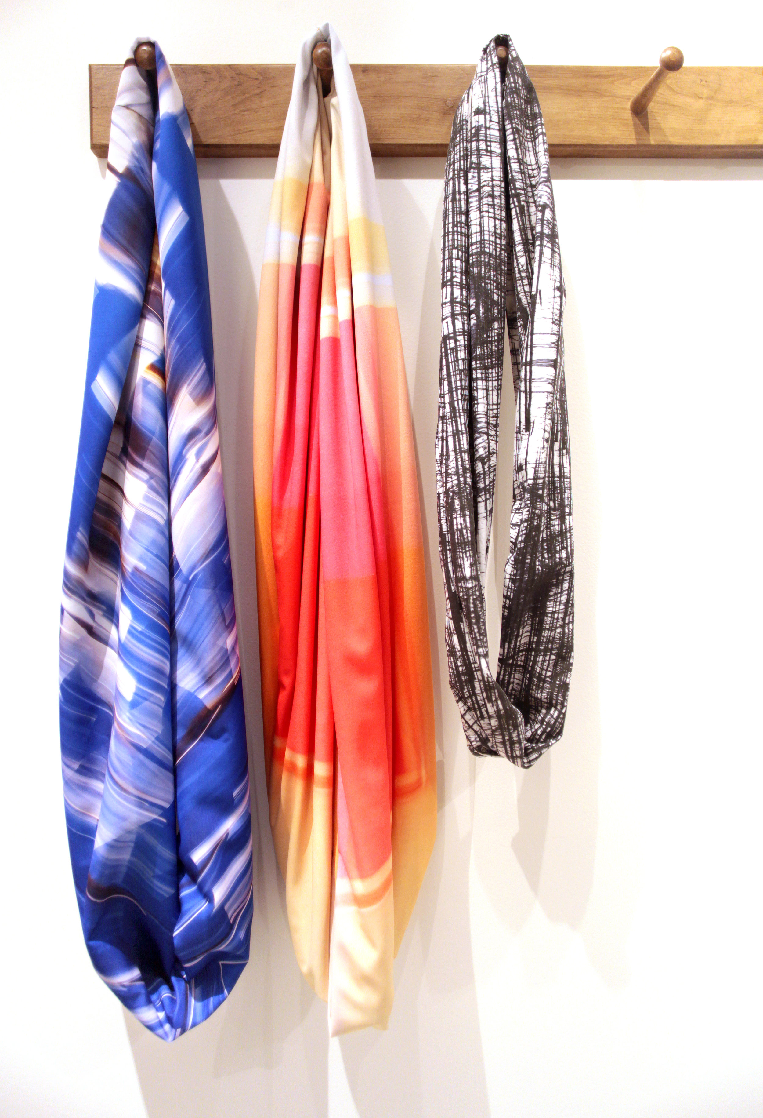 Photography + Fabric + Sewing = Wearable Art. My new infinity scarves, from left to right,  After Roxy Paine ,  After Josef Albers , and  Striations .