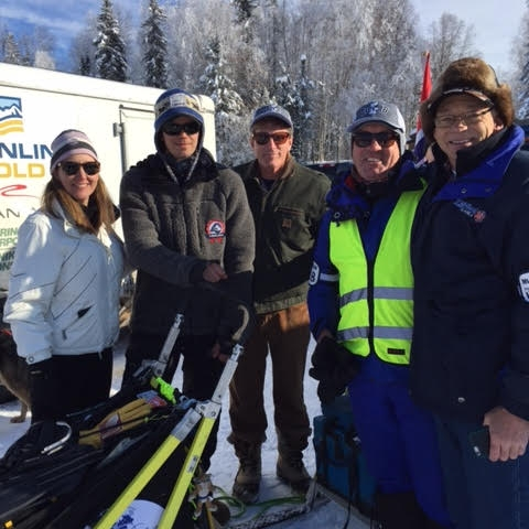 Left to right: Laurie Berry, Joar Leifseth Ulsom (Iditarod Race Winner 2018), Marc Millican (yep, that pilot I mentioned earlier), and friends, Pedro Garcia and Tom Kottre