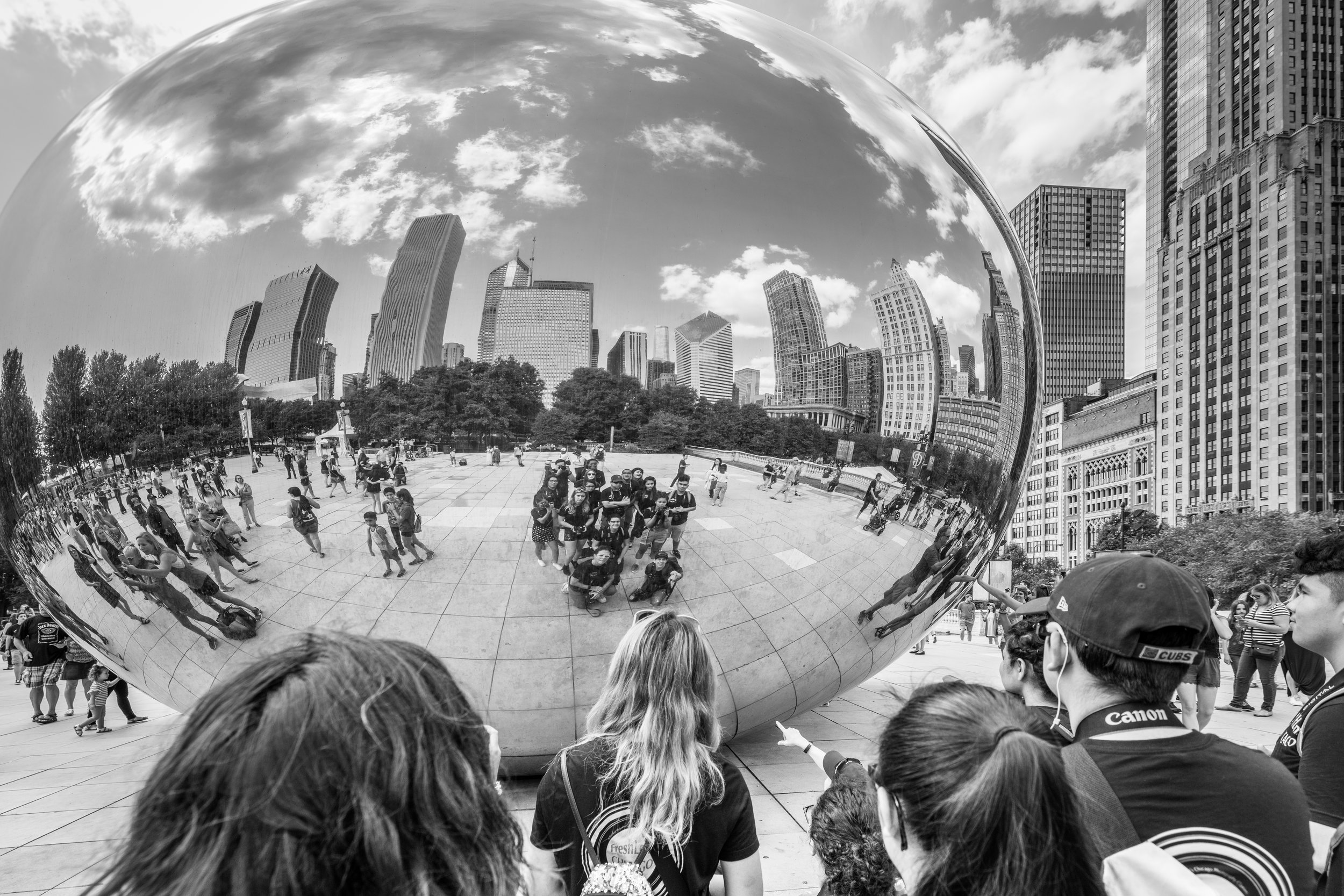 Millenium Park Photo Trip   FreshLens Chicago students gather at the Bean for an impromptu portrait.