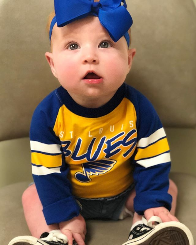 This sweet little SOGA baby is ready for the STL Blues to win tonight!! #goblues #sogababies