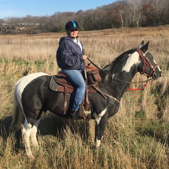 Sharon Casares has been teaching horseback riding lessons for over 40 years. She opened Heavenly Horses in 2008 with a vision to share her passion for horsemanship. Her current horse is a Paint named Stetson.
