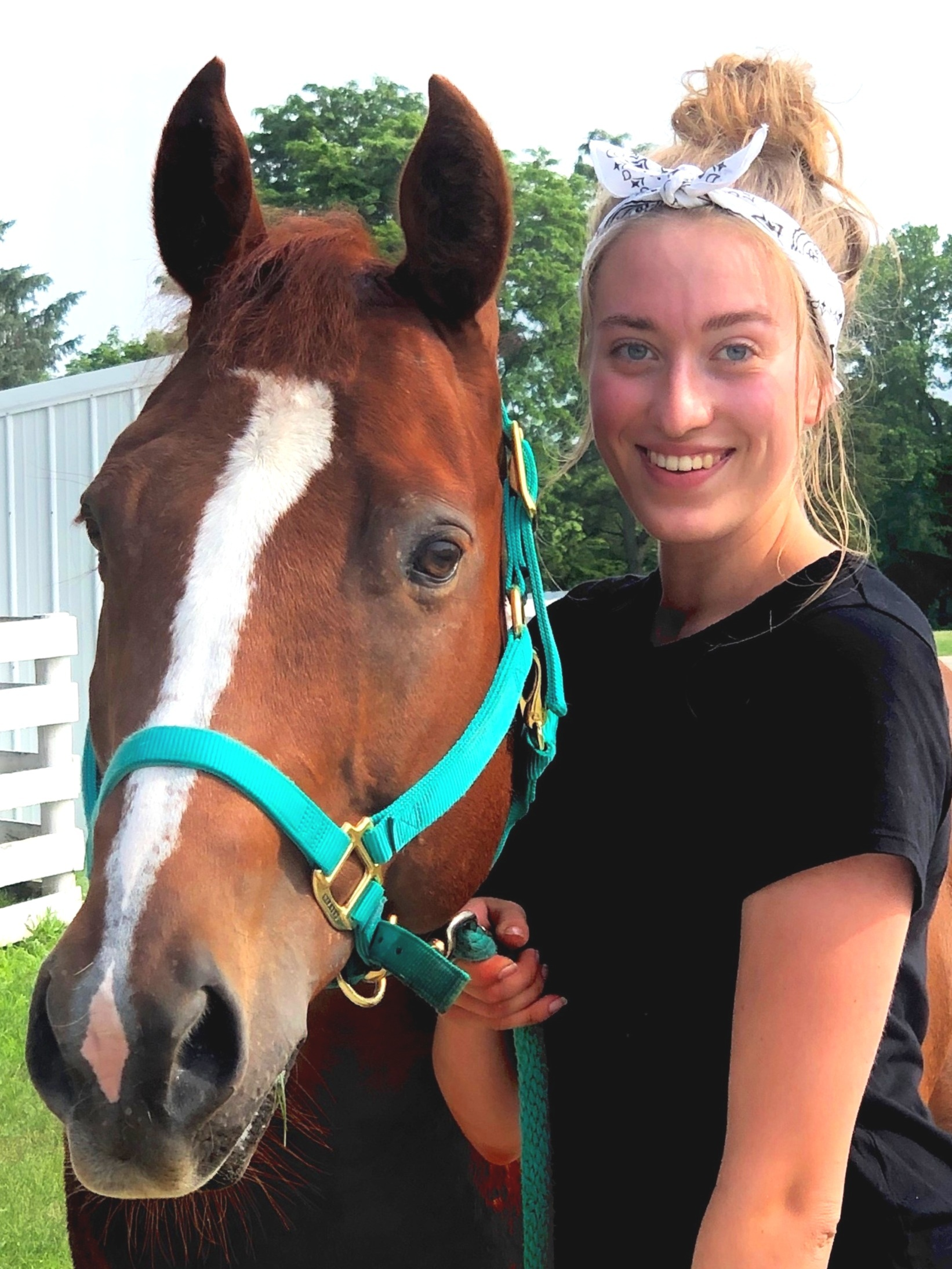 Hi, I'm Carley! I'm 18 years old and have been riding with Heavenly Horses for over 10 years. I will ride any discipline from jumping to western pleasure. As long as I'm on a horse, I'm happy! My favorite horse is Jesse. He's such a sweet boy but he does have a mischievous side that you've just got to love. I also spend a lot of time with Vinnie. The horses and people here have become an extension of my family and I don't know what I would do without them. Working with horses and kids has taught me some of life's most valuable lessons, and it has definitely kept me laughing. There is never a dull moment here!
