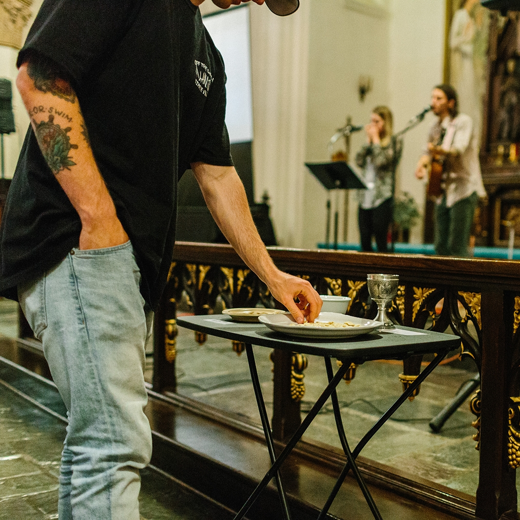 COMMUNION - We also celebrate communion every Sunday as an open table. All are welcome to engage in bread and wine to remember the the life, death, and resurrection of Jesus.