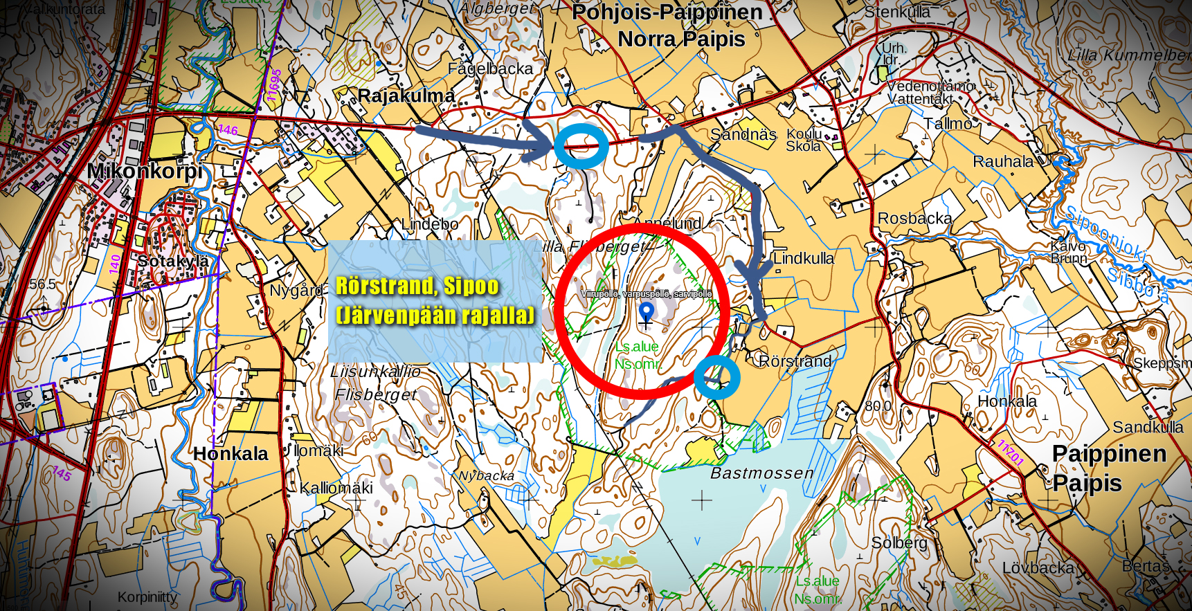 Loistava pöllöjen havainnointialue Sipoon ja Järvenpään rajoilla Rörstrandissa. Siniset pallurat ovat hyviä paikkoja saapua ja kuunnella lintuja. Ylemmällä pisteellä on paljon liikennettä, alempi sijaitsee paikassa, jonne pääsy mahdollista vain jalan tai polkupyörällä. Mosantie on pieni, kapea hiekkatie joka kulkee yksityisten tonttien ohi ja läpi, joten jos menette liikkumaan alueelle, olkaa kohteliaita ja varovaisia, älkää liikkuko yksityisten pihamailla, älkääkä jättäkö autoja esteiksi. (Kuvan kartta: maanmittauslaitos, kansalaisen karttapaikka, linkki karttaan alla)