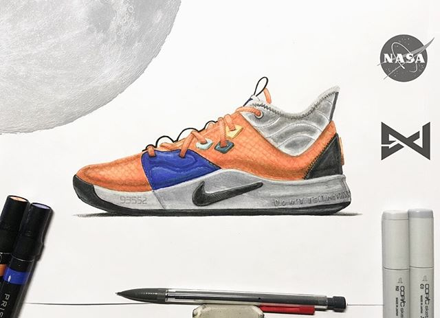 Third sketch of 2019 // Spacemin • • Homage to @t_hardmn 's PG3 design for @ygtrece. That damn bootie/collar got the best of me lol #conceptkicks #nikebasketball #sketching #footwear #footwearsketching #pg3 #nikepg3 #nasa #paulgeorge #okcthunder #copicmarkers #prismacolormarkers #footweardesign #ckinspiration #idsketching