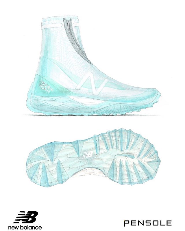 NEXT STEP// • I'll be joining New Balance and PENSOLE in Lawrence, Massachusetts for a 3-week co-op starting at the end of January. Here's the design I submitted as part of my entry:  A Fresh Foam-based Alpine runner with a double lasted construction featuring a translucent waterproof layer that wraps over the midsole and up to the ankle. The icy outsole is then lasted on the bottom, creating a visually unique, yet highly functional traction pattern. Visual inspiration was taken from the intended environment for the shoe, with the traction pattern being inspired by Hoarfrost, which is a type of ice which grows very uniquely off surface such as tree branches (see second picture). The inner portion of the upper consists of a waterproof compression knit sock and a translucent pliable TPU cage around the lower portion of the upper  and down around the toe and heel of the midsole, rising up to create a heel counter at the rear. • • Thanks to @newbalance and @pensole_academy for opportunity. See you soon, Boston!