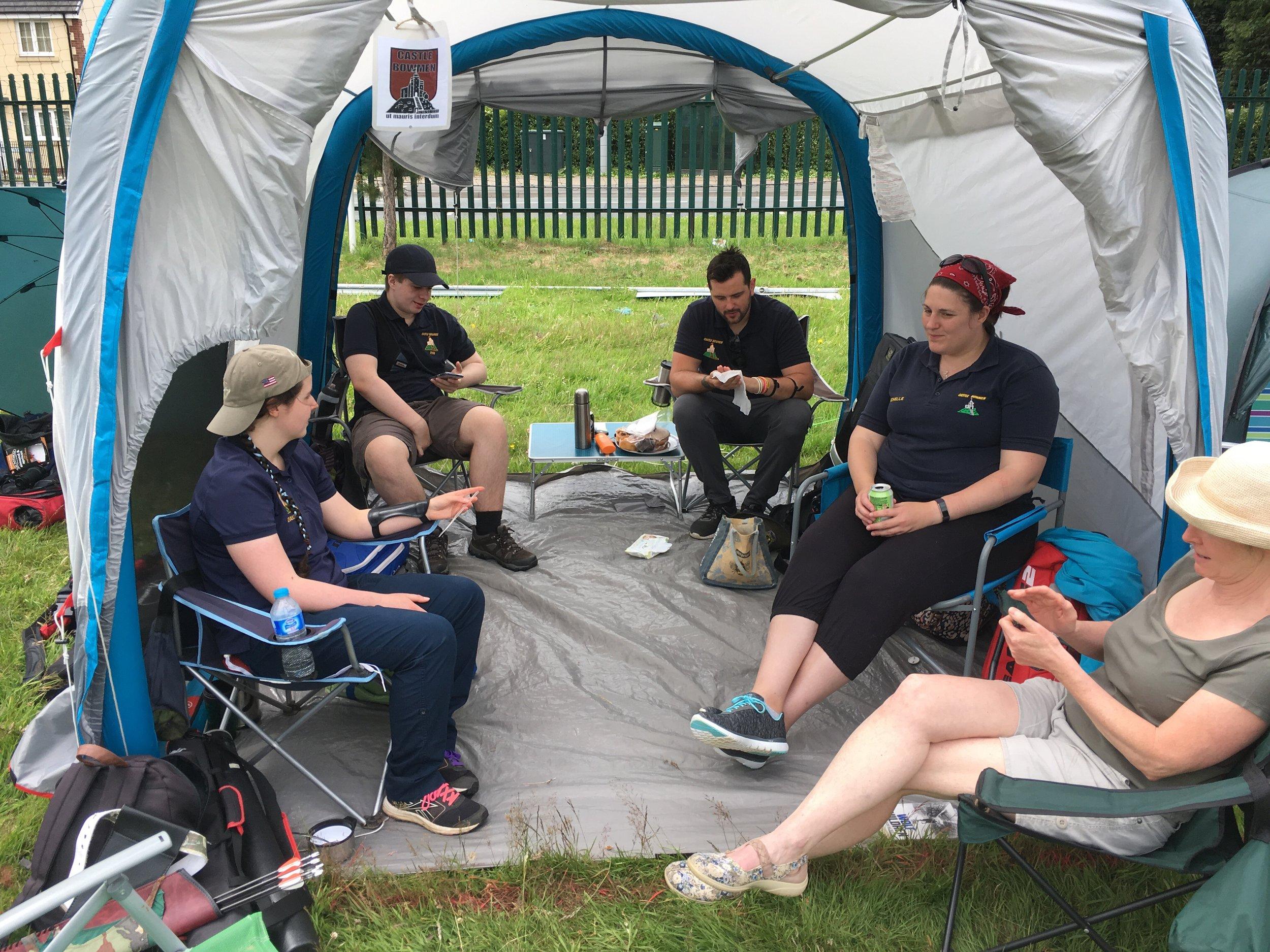 Castle Bowmen enjoying a well earned rest