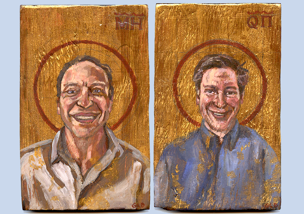 WE'RE GREEK ICONS!  Some beautiful  Greek icons  by  Gunner Dongieux ! He was a high school junior when Quinn and  Michael  commissioned them, today he's a sophomore at  Stanford University , even leading his own class in  curation ! Bravo, Gunner! Come to the  Rach & Bach Gala Benefit Concert!