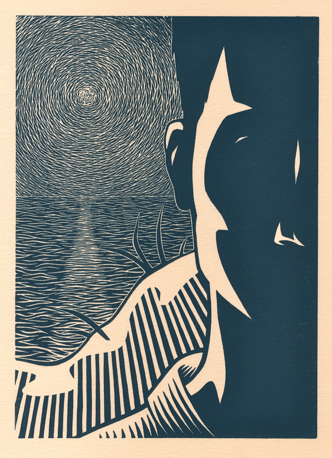 The Outsider by Albert Camus (Book Cover) . Linocut. 2010. 7x10""