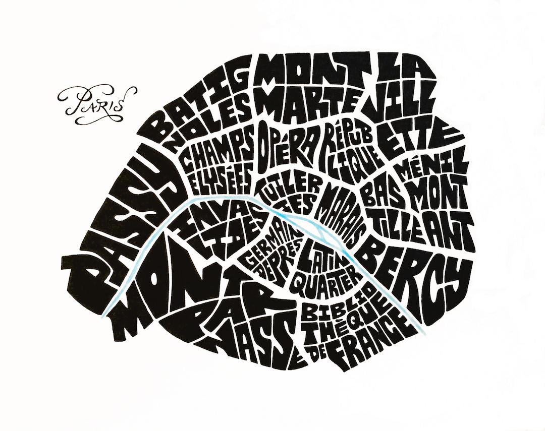 "Paris Typography Map. Ink. 2016. 10x10"""
