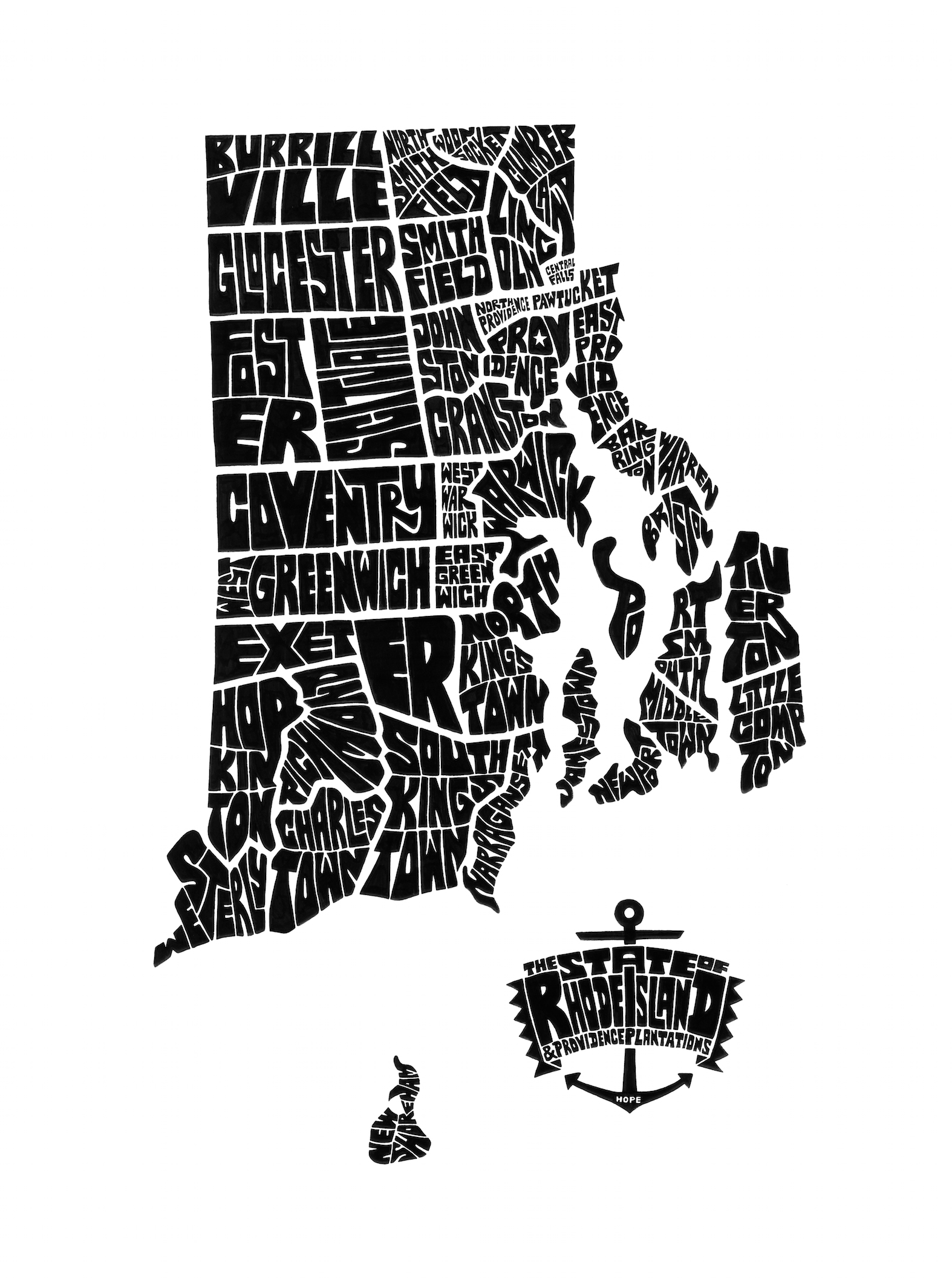 Cahtahgraphy (Rhode Island Typography Map). Ink. 2014. 20x28""