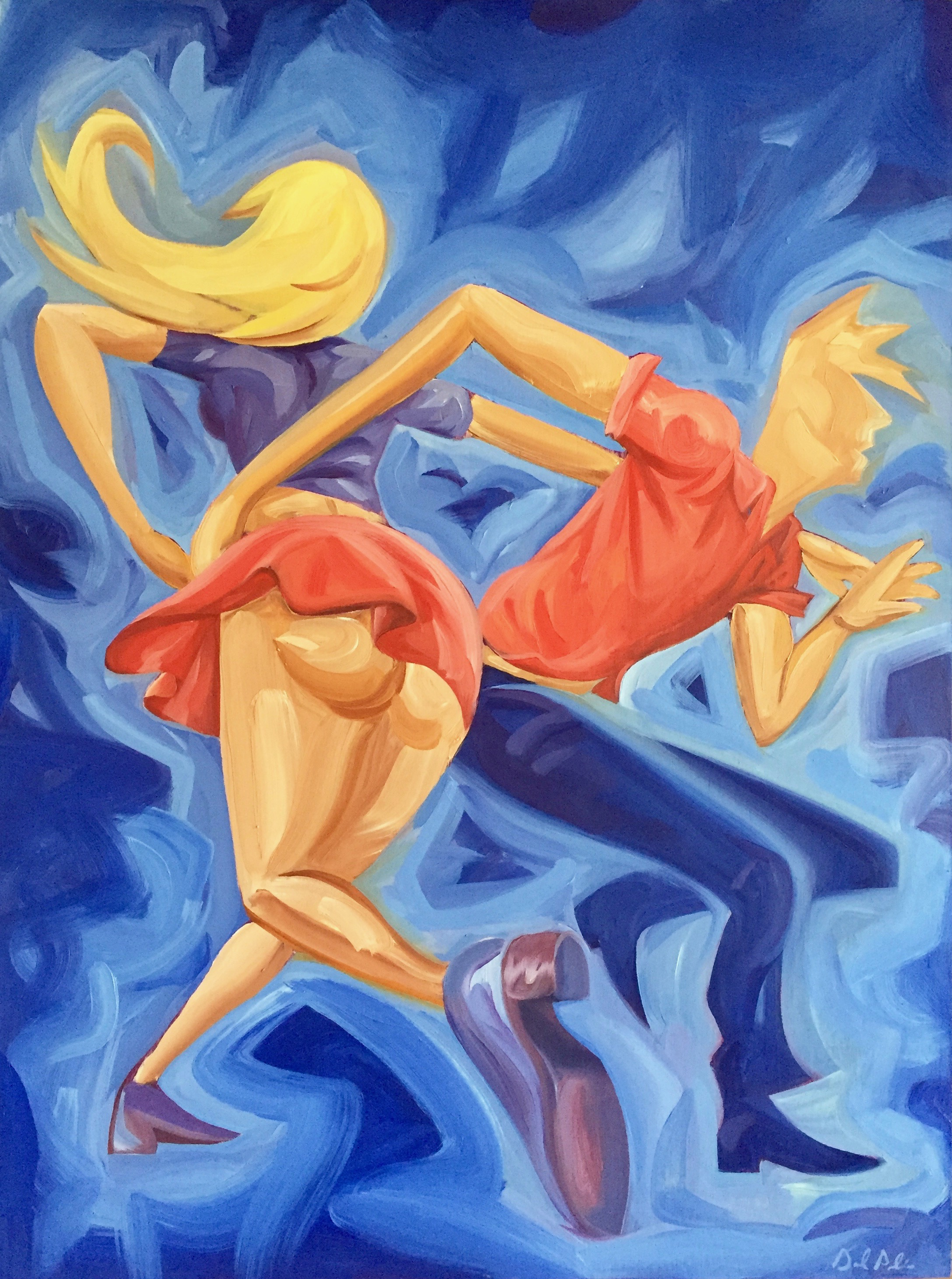 "Dancers. Oil on Panel. 2017. 18x24"""
