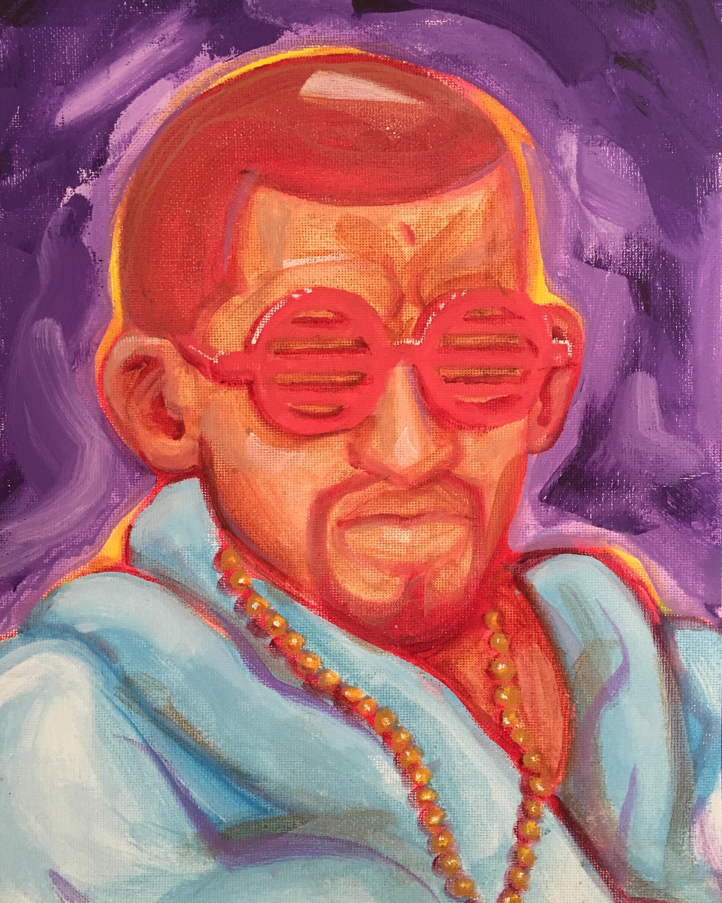 "Mahatma Ganye West. Acrylic on Canvas. 2016. 9x12"""