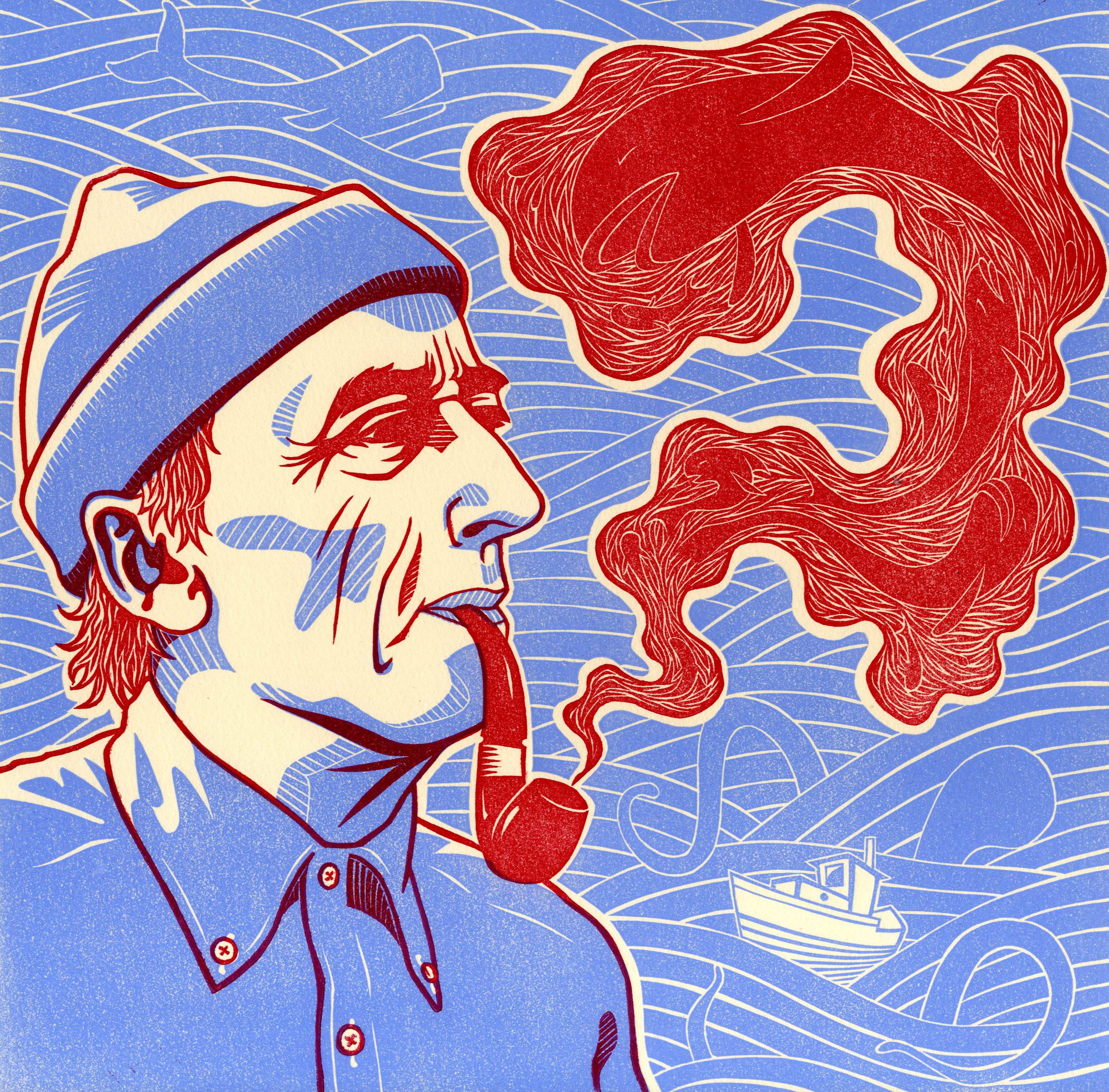 """Life As A Fish (Jacques Yves Cousteau) . Linocut. 2011. 12x12"""""""