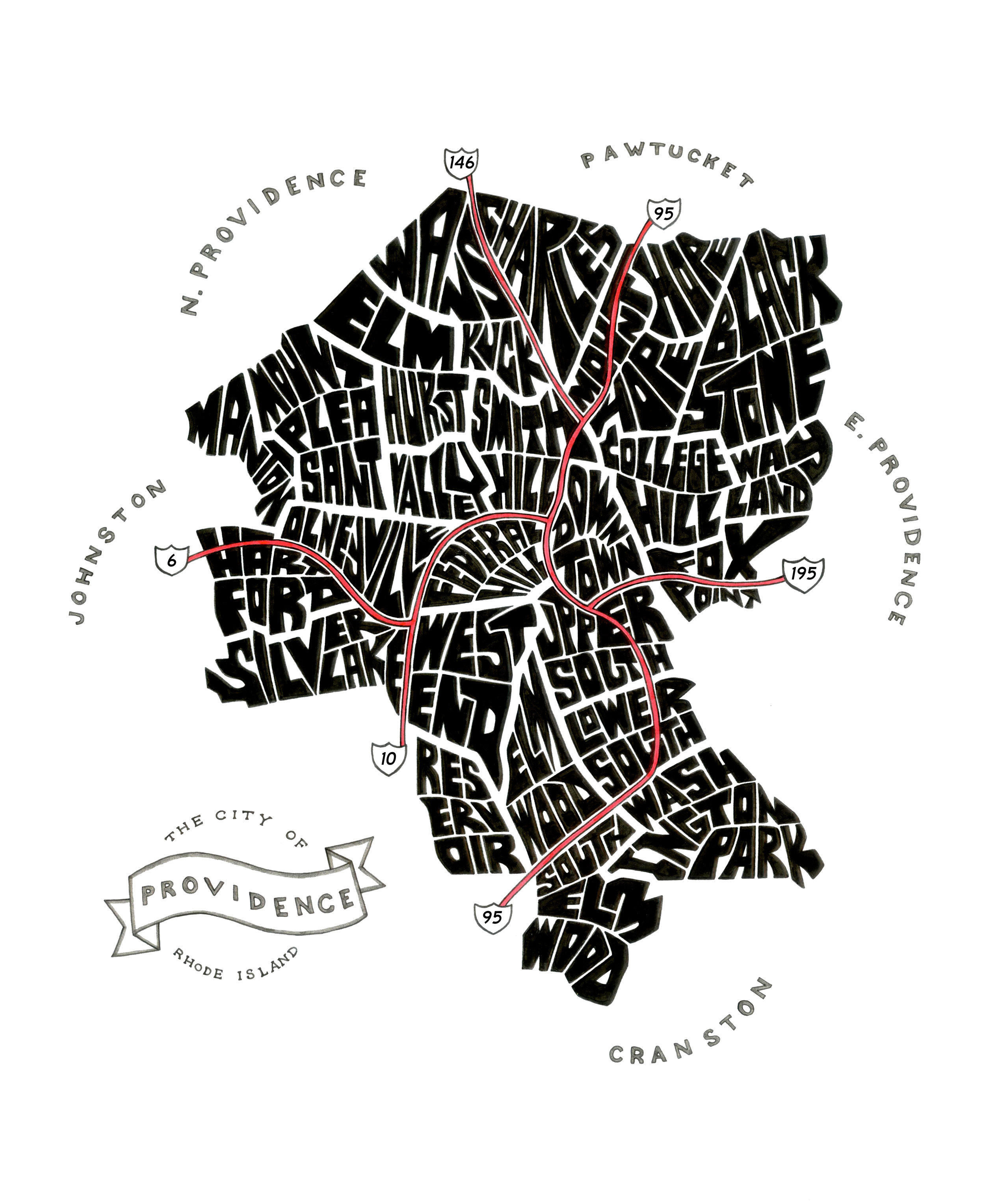 """Providence Typography Map. Ink. 2015. 18x24"""""""