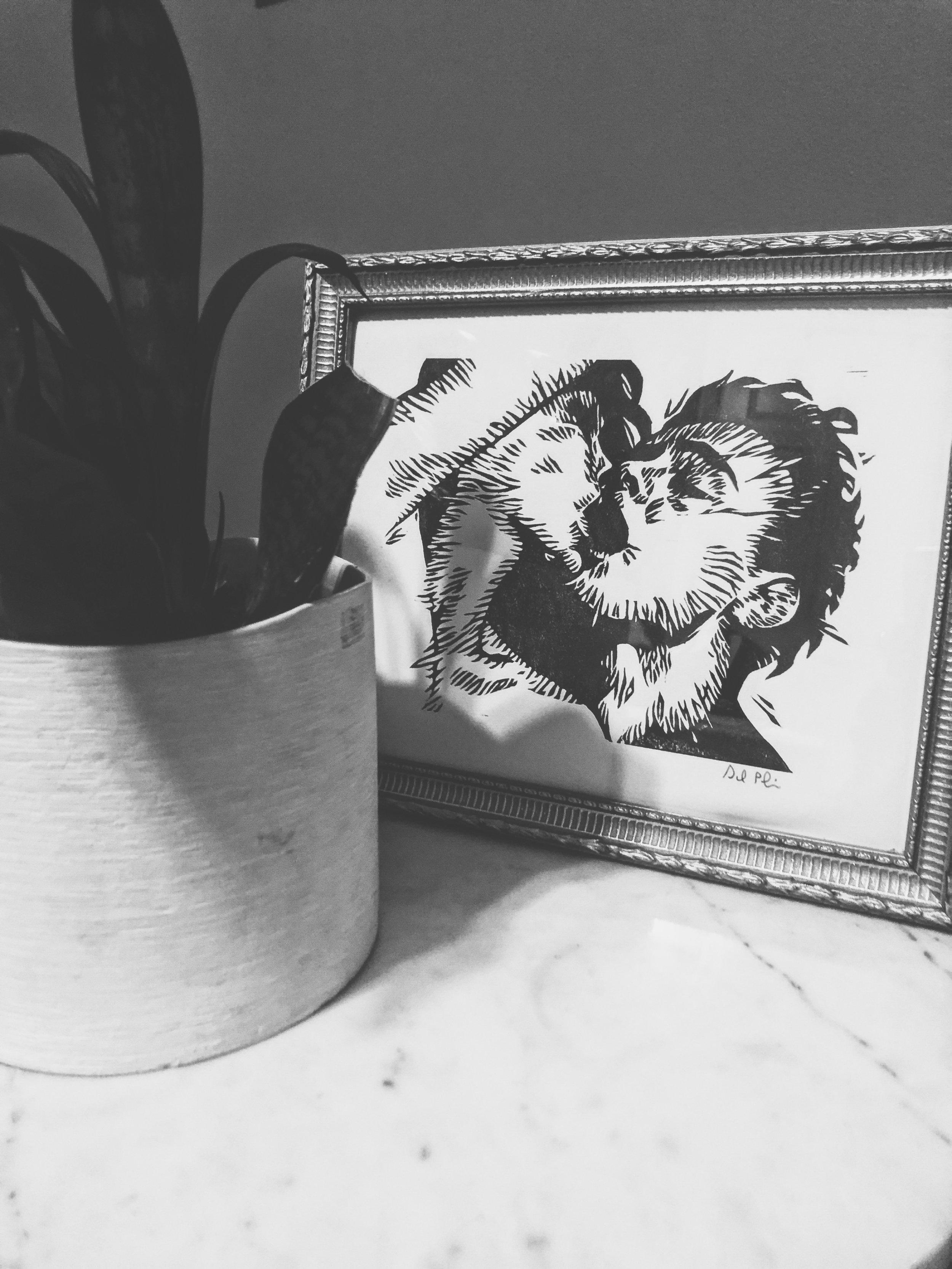 """Untitled (Bursting Kiss) . Linocut. 2016. 6x8"""""""